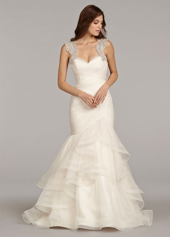 hayley-paige-bridal-english-net-fit-flare-ruched-horsehair-trim-flounced-alabaster-crystal-keyhole-chapel-6411_zm